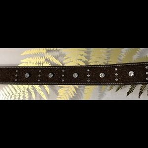 Accessories - Belt Genuine Leather Brown Sz. (L) Cristal Beads